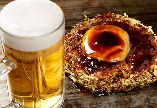 ビール&お好み焼き!