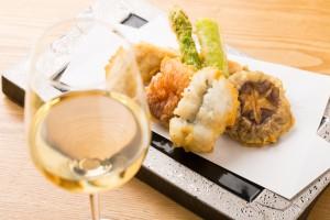 ワイン、天ぷら